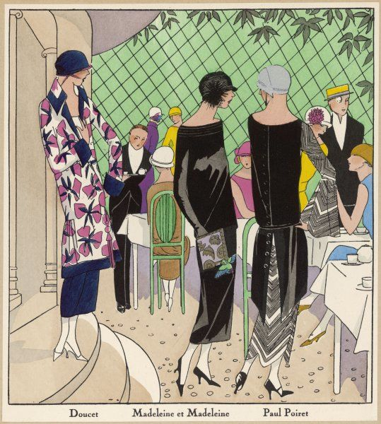 It's a nice day, let's eat out of doors and show off our creations by Doucet, Madeleine et Madeleine, and Paul Poiret