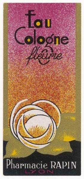 A sophisticated art deco label for Eau de Cologne fleurie, from Pharmacie Rapin, France