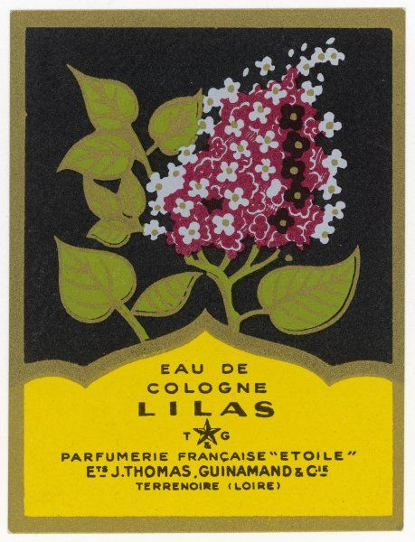 A fine French label for Eau de Cologne Lilas (= lilac) from the Pharmacie Etoile, France