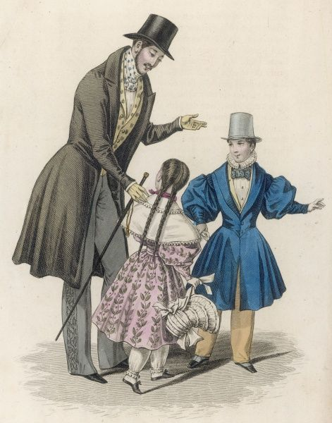 Man: trousers with decorative border on outside leg. Girl: pink print dress, pantalettes & pelerine. Boy: full skirted blue coat, 'V' shaped waist seam & very full sleeves