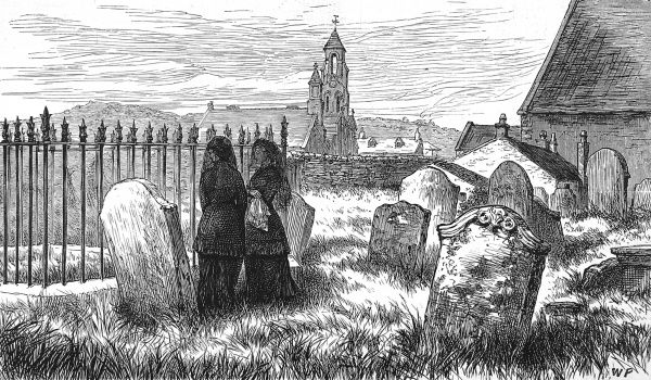 Engraving showing the burial place of Thomas Carlyle (1795-1881), the Scottish historian and essayist, in Ecclefechan, Dumfries and Galloway