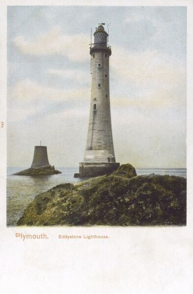 Eddystone Lighthouse - the new lighthouse that Sir James Douglass designed, building starting in 1879
