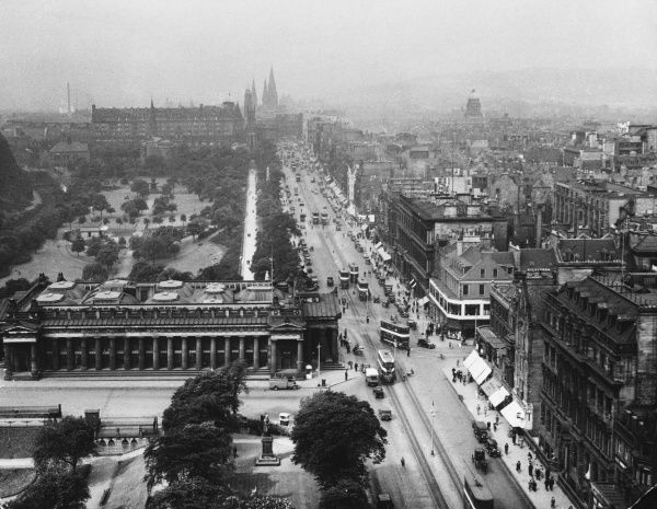 Princes Street, Edinburgh. A striking view of one of the most beautiful thoroughfares in Europe, looking westward, from the Scott Memorial