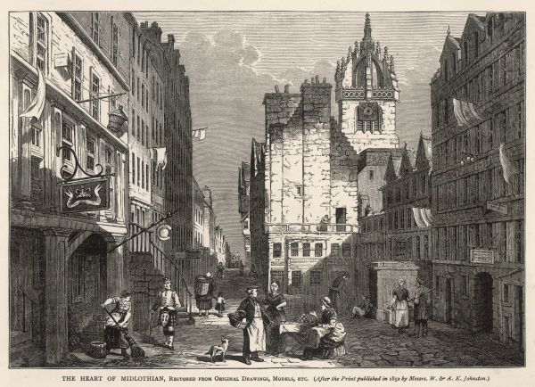 The 'heart of Midlothian' - the old Tolbooth or prison, from which Walter Scott took the name of his novel published in 1818