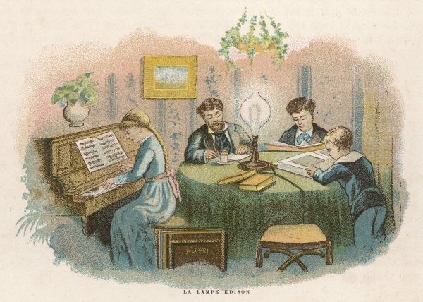 Edison's electric lamp helps all the family