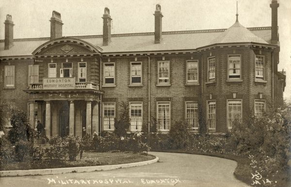 Edmonton Military Hospital, erected in 1910 as the infirmary of the Edmonton Union workhouse. It later became part of the North Middlesex Hospital