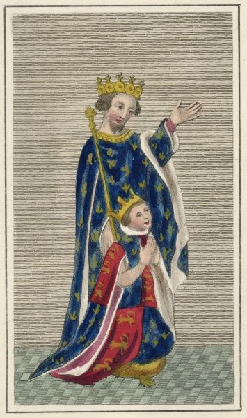 EDWARD, PRINCE OF WALES known as 'the Black Prince' eldest son of Edward III with his son, the future Richard II