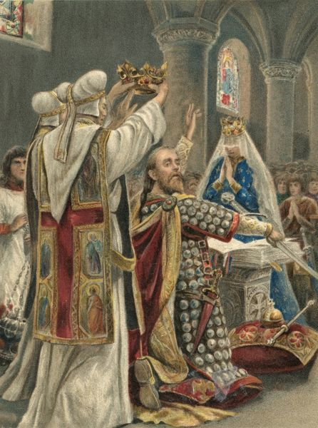 EDWARD THE CONFESSOR crowned at Winchester by Eadsige, Archbishop of Canterbury Date: Easter Day 1043
