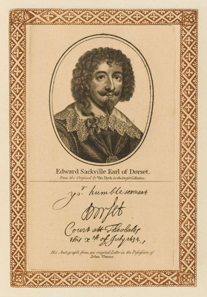EDWARD SACKVILLE earl of DORSET Royalist military commander who distinguished himself at the battle of Edge Hill with his autograph