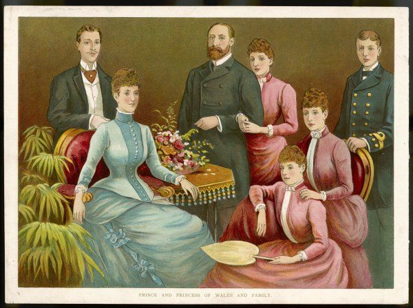 Edward and Alexandra, with Albert duke of Clarence, George (V), Louise, Mary and Maud