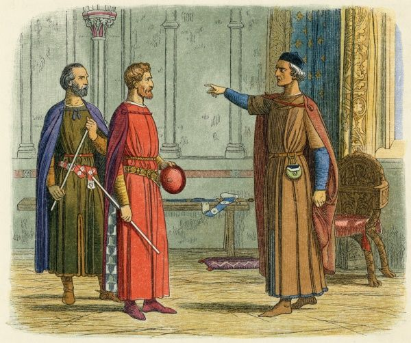 Edward I threatens Roger, Earl of Norfolk who refuses to serve in Gascony