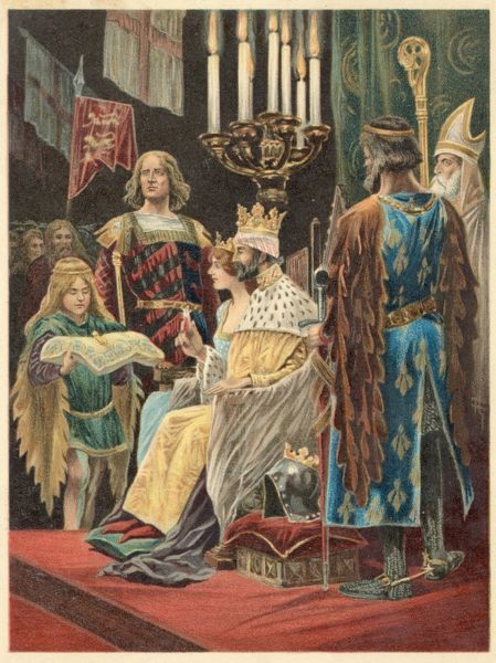 EDWARD II crowned with Queen Isabella at Westminster by the Bishop of Winchester