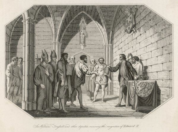 Sir William Trufsell and other deputies receiving the resignation of Edward II