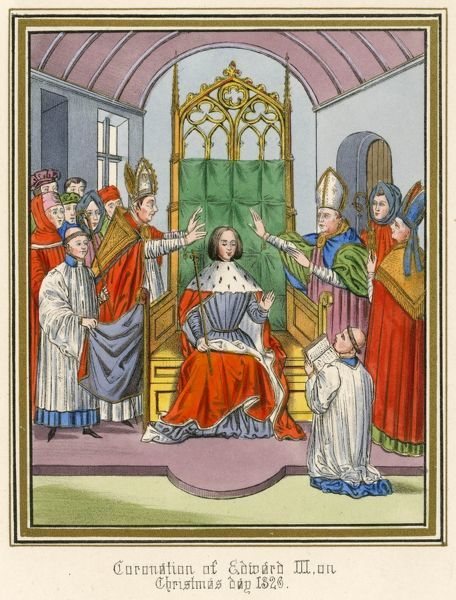 EDWARD III KING OF ENGLAND His coronation in Westminster Abbey, at the age of 15