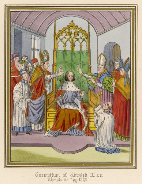 KING EDWARD III His coronation in Westminster Abbey at the age of 15