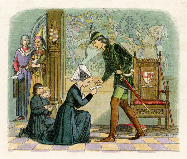 Lady Elisabeth presents Edward IV with a letter, her sons follow behind. She is said to have given into Edward's advances only if he agreed to marry her