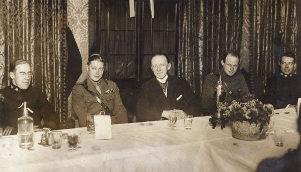 Edward, Prince of Wales (the future Edward VIII), at the American Officers Club, having lunch with Sir Harry Brittain (Club Chairman, centre) and others during the First World War. Sir Henry Ernest Brittain (1873-1974) was a British journalist