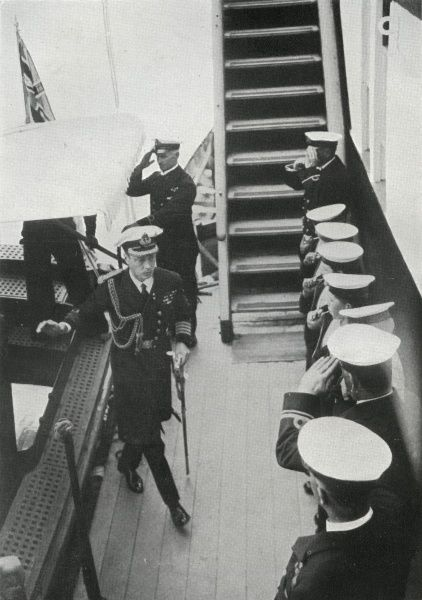 HRH Edward, Prince of Wales, visiting the Training Ship Exmouth on the occasion of its golden jubilee in 1926