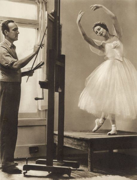 Edward Seago(1910 - 1974) painting the ballerina Alicia Markova as a Sylphide. An exhibition of Seago's ballet paintings was displayed at Carroll Carstair's Gallery in New York, to coincide with the ballet season