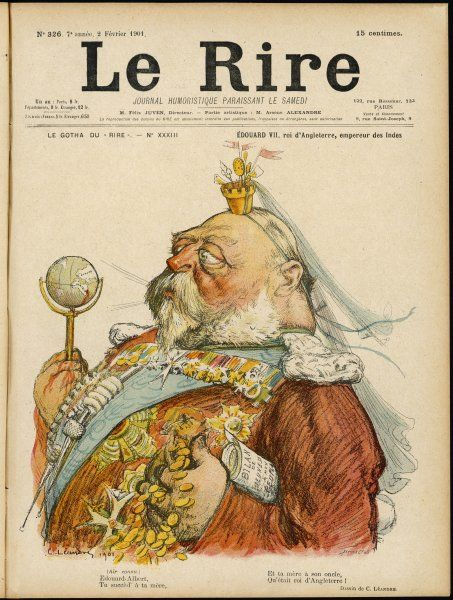 EDWARD VII depicted by the French as playing with the world as his rattle