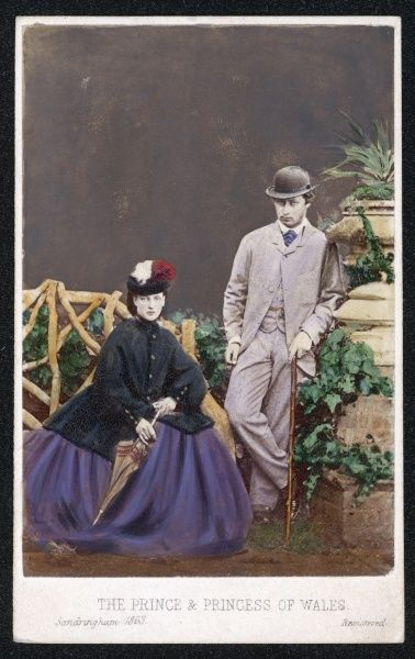 EDWARD VII Wales, with his bride, Princess Alexandra, at Sandringham in 1863, the year of their wedding Date: 1841 - 1910