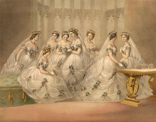 The bridesmaids at the marriage of Edward, Prince of Wales, to Alexandra Date: 1863