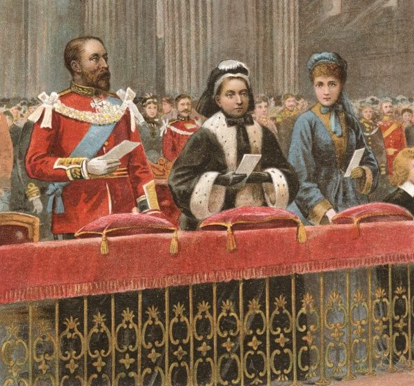 EDWARD VII as Prince of Wales in church with his wife, Alexandra and his mother, Queen Victoria Date: circa 1870
