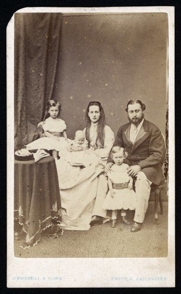 EDWARD VII with Alexandra and their three children, circa 1868