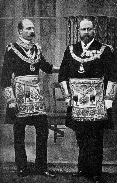 Edward VII pictured with the Duke of Connaught as a Grand Master freemason