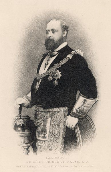 EDWARD, Prince of Wales, (subsequently king Edward VII) in his ceremonial regalia as Grand Master of English Freemasons, a position he held from 1875 to 1901