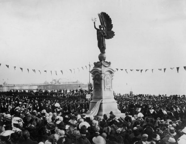 The unveiling of a Memorial to the late King Edward VII on the boundary dividing the boroughs of Brighton and Hove. It was unveiled by the Lord Lieutenant of Sussex, the Duke of Norfolk, in front of a large crowd. The statue represents the Angel of Peace