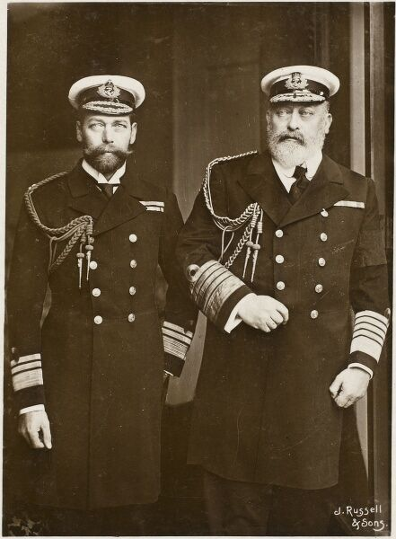 King Edward VII and George, Prince of Wales (future King George V). Both are in ceremonial naval uniform