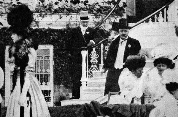 Edward VII (1841-1910) seen here in the Royal Box at Ascot during the visit of King Alfonso of Spain in 1905. Edward had many leisure interests including his enthusiasm for horse-racing