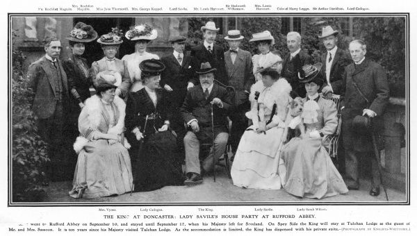 EDWARD VII staying at Rufford House near Doncaster as a guest of Lady Savile. The King's mistress, Alice Keppel is standing fourth from left