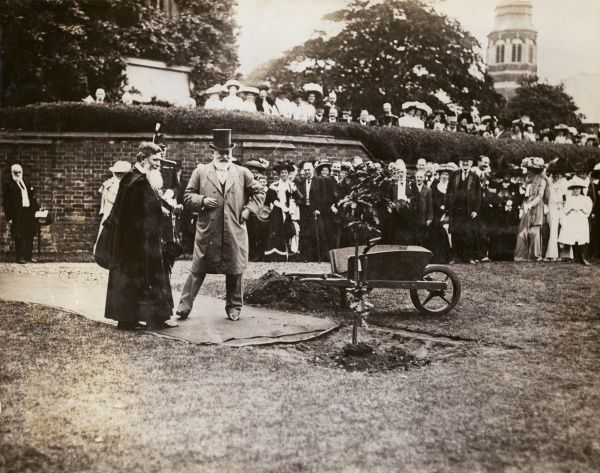 King Edward VII at a tree planting ceremony. Well dressed spectators watch from a distance, some of them looking over a wall