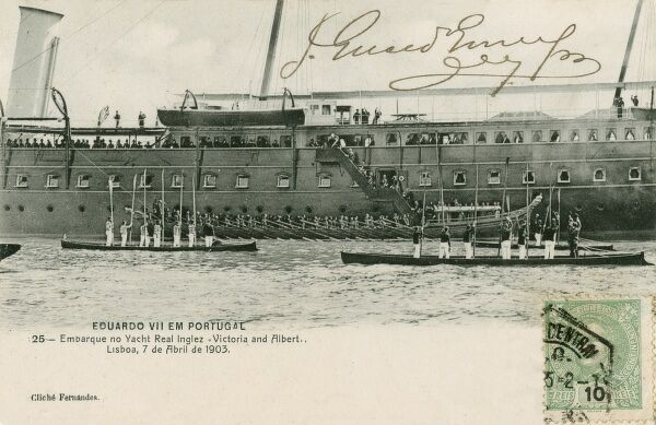 Edward VII - Visit to Portugal. He took the Victoria & Albert III steam yacht (launched in 1901) - here the Royal party disembark at Lisbon on 7th April, 1903