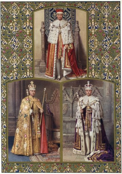 A triptych of paintings by Fortunino Matania of King Edward VIII dressed in his ceremonial Coronation robes, part of a special Coronation number prepared in advance by the Illustrated London News but never published due to the fact the King