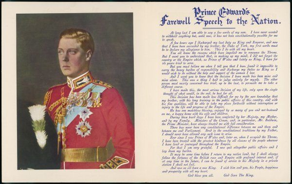 Edward VIII chooses love rather than the throne ; his 'farewell speech' is widely distributed