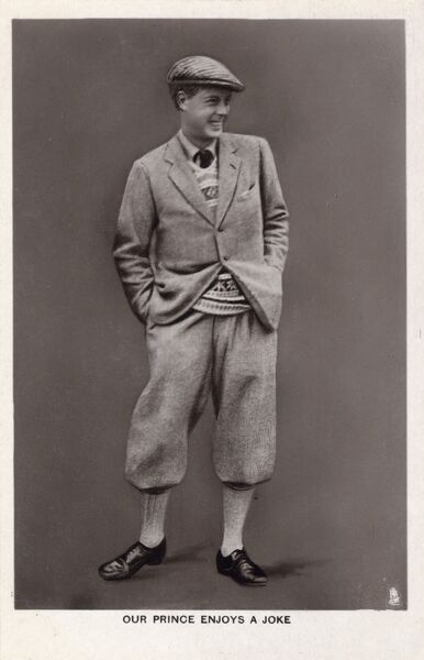 The Prince of Wales, future King Edward VIII (1894 - 1972), laughing in country attire of tweed suit (with plus fours) and flat cap. Edward popularised the wearing of the Fairisle sweater - reviving the local industry there!!