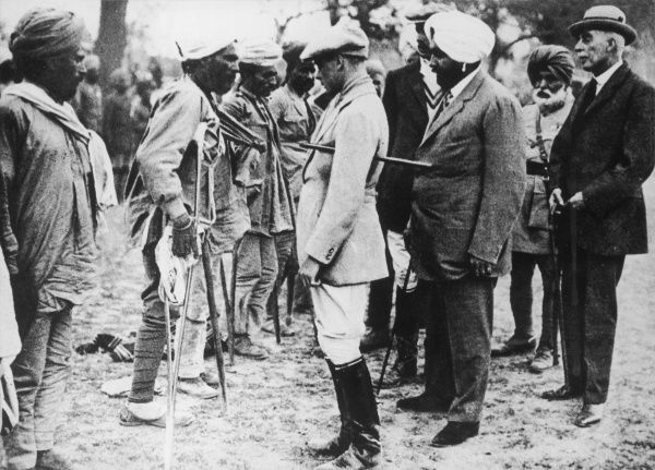 EDWARD VIII When Prince of Wales, meeting Pataila soldiers who lost limbs whilst on active service during World War One