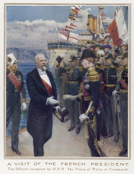 Prince Edward of Wales welcomes President Poincare of France at Portsmouth, a year before the two countries find themselves allies in the war against Germany