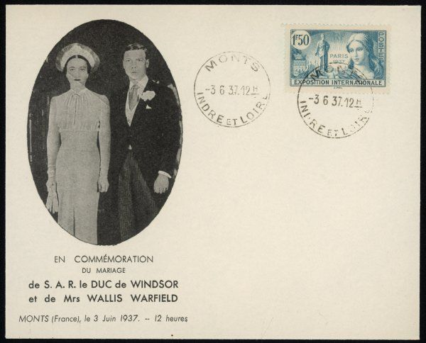 Commemorative envelope issued in France on the occasion of Edward, duke of Windsor's marriage to Mrs Wallis Warfield/Simpson at Monts