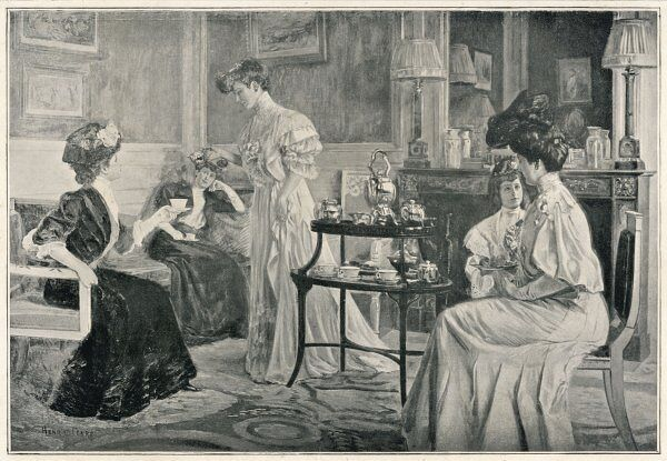 An Edwardian lady is 'at home' to her friends