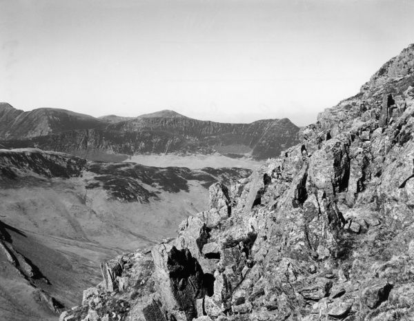 Eel Crags, a natural rock formation above Grange-in- Borrowdale, Cumbria, England. Date: 1950s