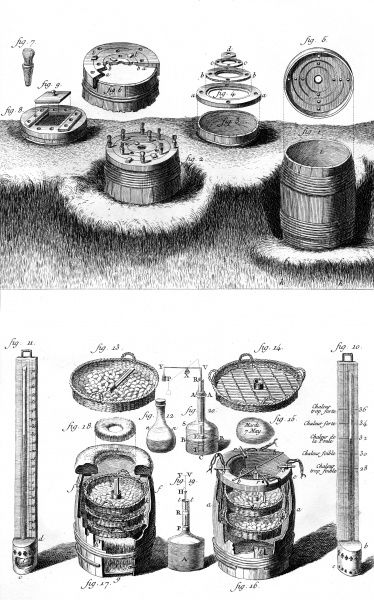 'The Art of making chicks hatch'. Eggs are kept in barrels buried in dung. Thermometers are used to control the temperature and make eggs hatch faster. Date: Circa 1760