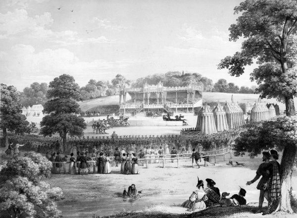 General view of the tilt- ground : no expense has been spared to re-create the ambiance of a medieval tournament, while catering for some 100,000 spectators ! Date: 30 August 1839