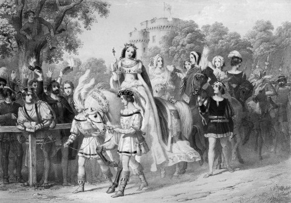 The Queen of Beauty - Lady Seymour - rides to the lists with her attendant ladies. Not only participants but many spectators wear medieval costume for the occasion. Date: 30 August 1839