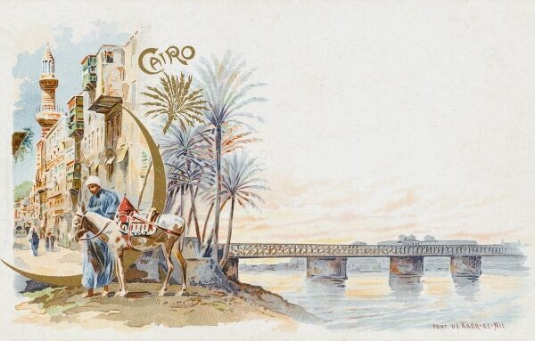 Egypt - Cairo - the Pont de Ghazirah (a bridge over the Nile) and a street scene in the city