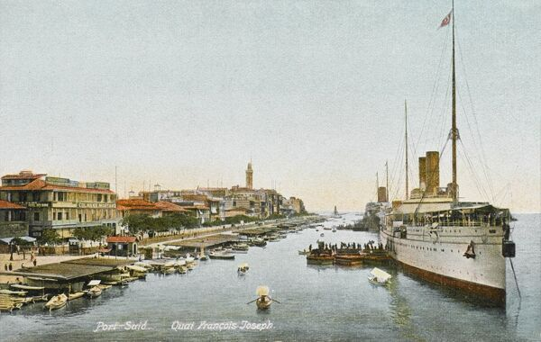 Large steamship liner moored in the Franz Josef Quay, Port Said, Egypt