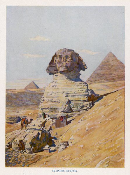 This scene shows clearly not only the awesome size of the sculpture, but also its location in regard to the Pyramids